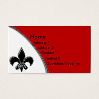 Cartes De Visite Noir de KRW et ton de Red Fleur De Lis deux