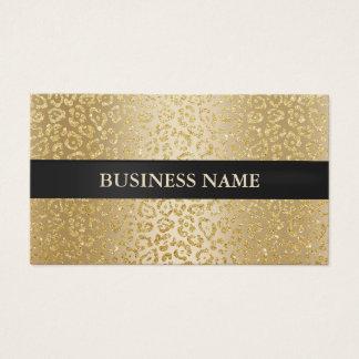 Cartes De Visite Noir de luxe de léopard d'or de salon de beauté