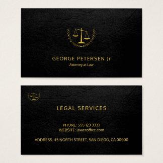 Cartes De Visite Noir de luxe d'échelle d'or de mandataire simili