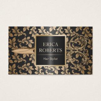 Cartes De Visite Noir de luxe et or de salon de coiffeur