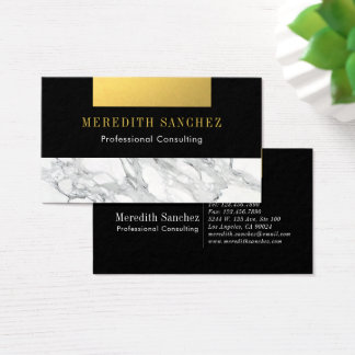 Cartes De Visite Noir de marbre professionnel sophistiqué d'or
