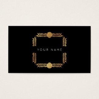Cartes De Visite Noir d'or VIP d'aluminium de laurier de roses