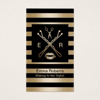 Cartes De Visite Noir élégant de maquillage et de coiffeur et