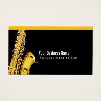 Cartes De Visite Noir élégant de musique de saxo de jazz