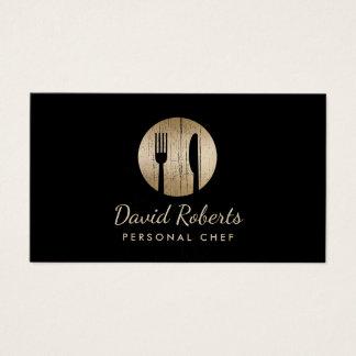 Cartes De Visite Noir élégant et or de restaurant de restauration