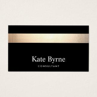 Cartes De Visite Noir élégant moderne rayé d'or