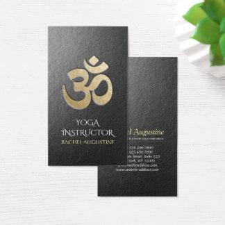 Cartes De Visite Noir et instructeur de yoga de symbole d'OM de