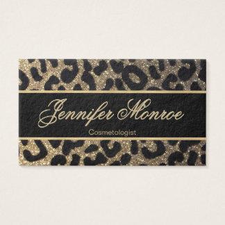 Cartes De Visite Noir et or de léopard de scintillement