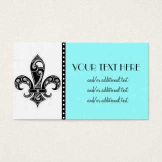 Cartes De Visite Noir et White Fleur De Lis