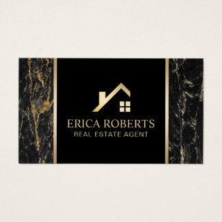 Cartes De Visite Noir moderne de vrai agent immobilier et marbre