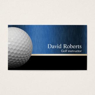 Cartes De Visite Noir professionnel et bleu d'instructeur de golf