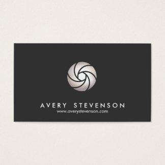 Cartes De Visite Noir simple de logo de lentille de volet de