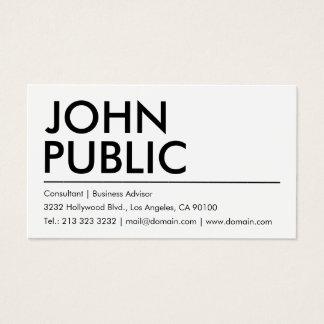 Cartes De Visite Nom audacieux blanc simple simple