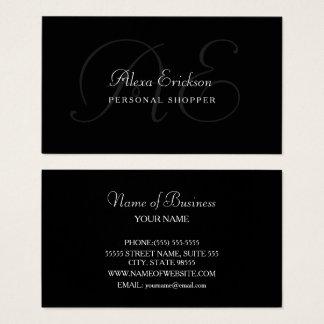 Cartes De Visite Nom noir et blanc de plaine élégante de monogramme