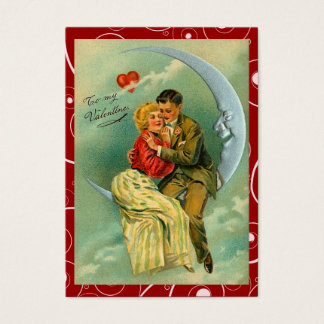 Cartes De Visite Notes vintages d'amour de Valentine de lune