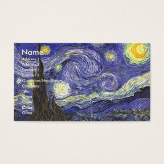 Cartes De Visite Nuit étoilée de Van Gogh, paysage vintage de