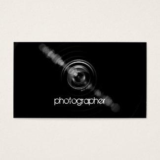 Cartes De Visite Objectif de caméra simplement noir et blanc de