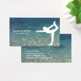Cartes De Visite Océan bleu élégant d'instructeur de yoga