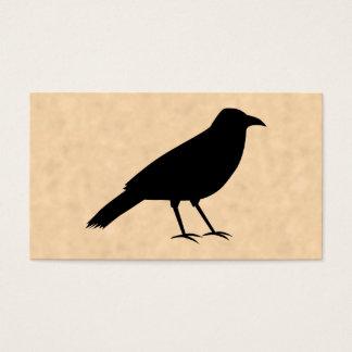 Cartes De Visite Oiseau noir de corneille sur un modèle de