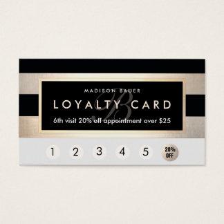 Cartes De Visite Or de poinçon de la fidélité 6 de monogramme et