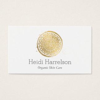 Cartes De Visite Or élégant de Faux de logo de mandala de beauté