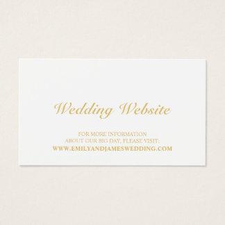 Cartes De Visite Or élégant et site Web blanc de mariage