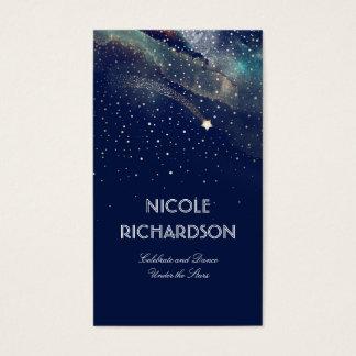 Cartes De Visite Or et marine de nuit étoilée d'étoile filante