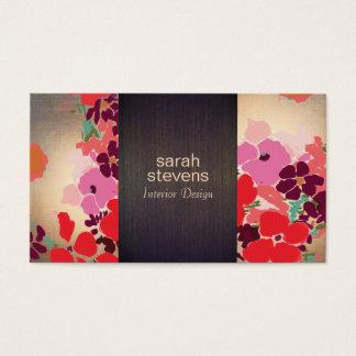 Cartes De Visite Or floral coloré en bois de dessinateur