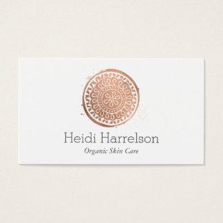 Cartes De Visite Or rose de beauté de logo élégant de mandala
