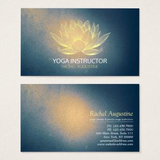 Cartes De Visite Or rougeoyant Lotus et instructeur grunge bleu de
