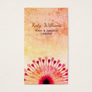 Cartes De Visite Orange rouge de méditation d'instructeur de yoga