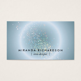 Cartes De Visite Organisateur céleste bleu de cercle de confettis
