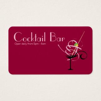 Cartes De Visite Organisateur de boîte de nuit de barre de cocktail