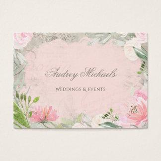 Cartes De Visite Organisateur floral rose français élégant de