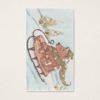 Cartes De Visite Ours Sleigh de vacances montant des étiquettes de