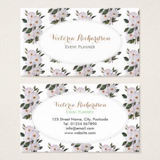 Cartes De Visite Ovale blanc d'art floral fait sur commande de