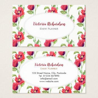 Cartes De Visite Ovale blanc d'art floral rouge fait sur commande