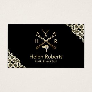 Cartes De Visite Paillettes modernes d'or de logo de salon de