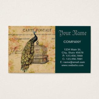 Cartes De Visite paon botanique français de cru de nouveau d'art