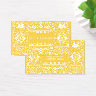 Cartes De Visite Papier jaune Papel de coupe de blanc de Picado de