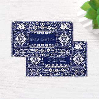 Cartes De Visite Papier Papel de coupe de blanc de bleu marine de