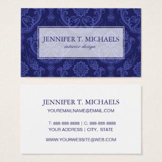 Cartes De Visite Papier peint floral bleu de luxe de damassé