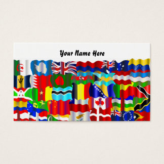 Cartes De Visite Papier peint onduleux de drapeau, votre nom ici