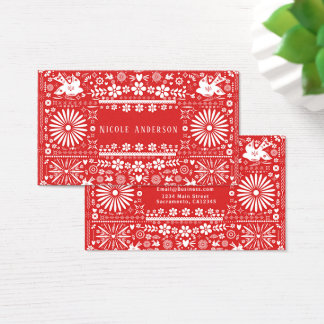 Cartes De Visite Papier rouge Papel de coupe de blanc de Picado de