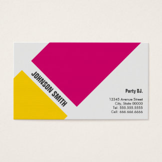 Cartes De Visite Partie DJ - Jaune rose simple
