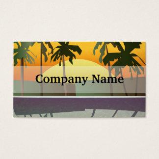 Cartes De Visite Paysage tropical de coucher du soleil, palmiers