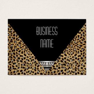 Cartes De Visite Peau blanche de léopard de noir d'art déco de