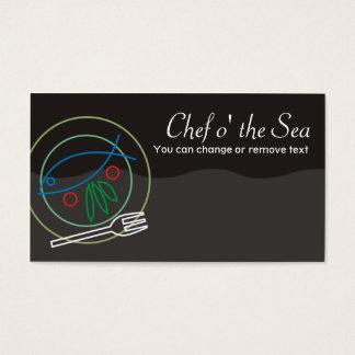 Cartes De Visite Pêchez le busin végétal de restauration de chef de