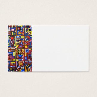 Cartes De Visite Peint à la main géométrique d'art Deux-Moderne