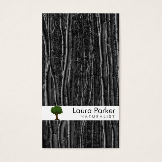Cartes De Visite Pelouse noire de paysage de soin d'arbre de forêt